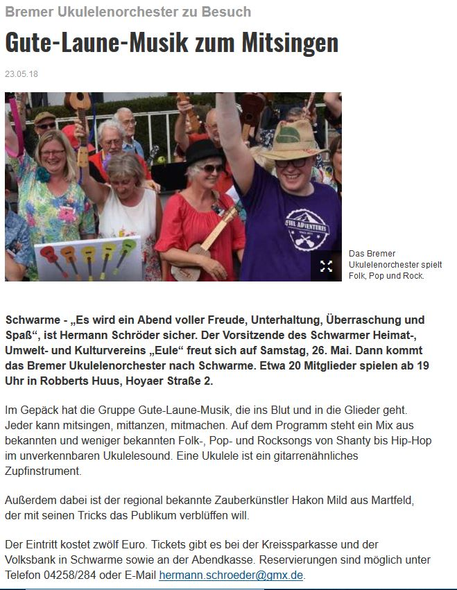 Ankündigung in der Kreiszeitung vom 23.05.2018