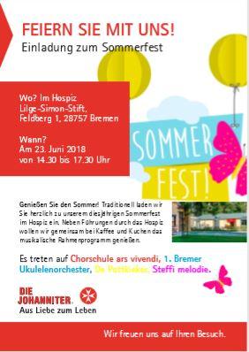 Plakat Sommerfest Hospiz Lilge-Simon-Stift