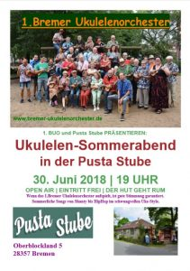 Plakat 1BUO in der Pusta-Stube am 30.06.2018
